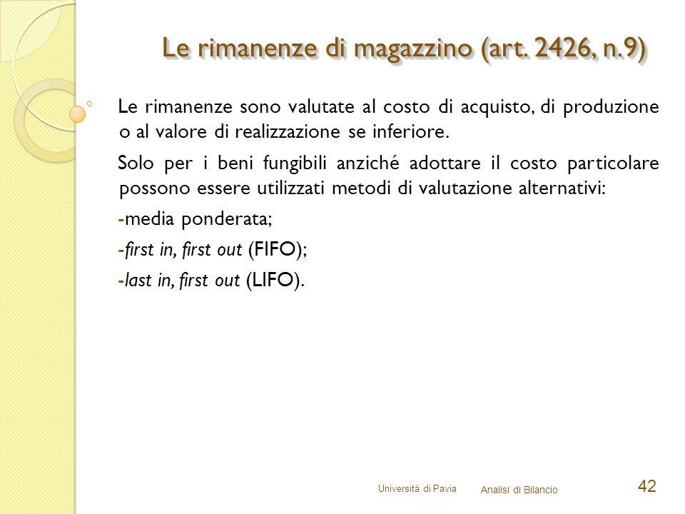 Le rimanenze di magazzino (art. 2426, n.9)
