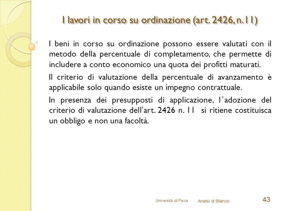 I lavori in corso su ordinazione (art. 2426, n.11)