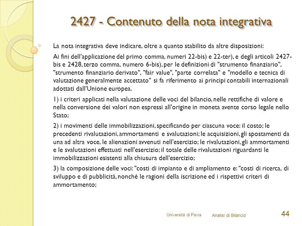 2427 - Contenuto della nota integrativa