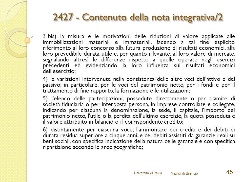 2427 - Contenuto della nota integrativa/2