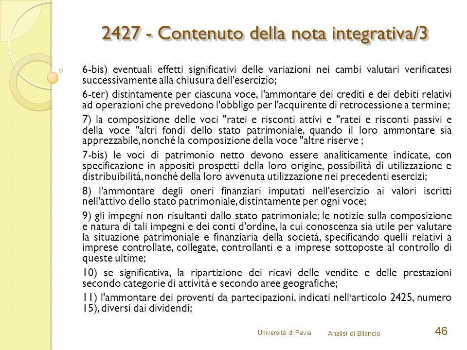 2427 - Contenuto della nota integrativa/3