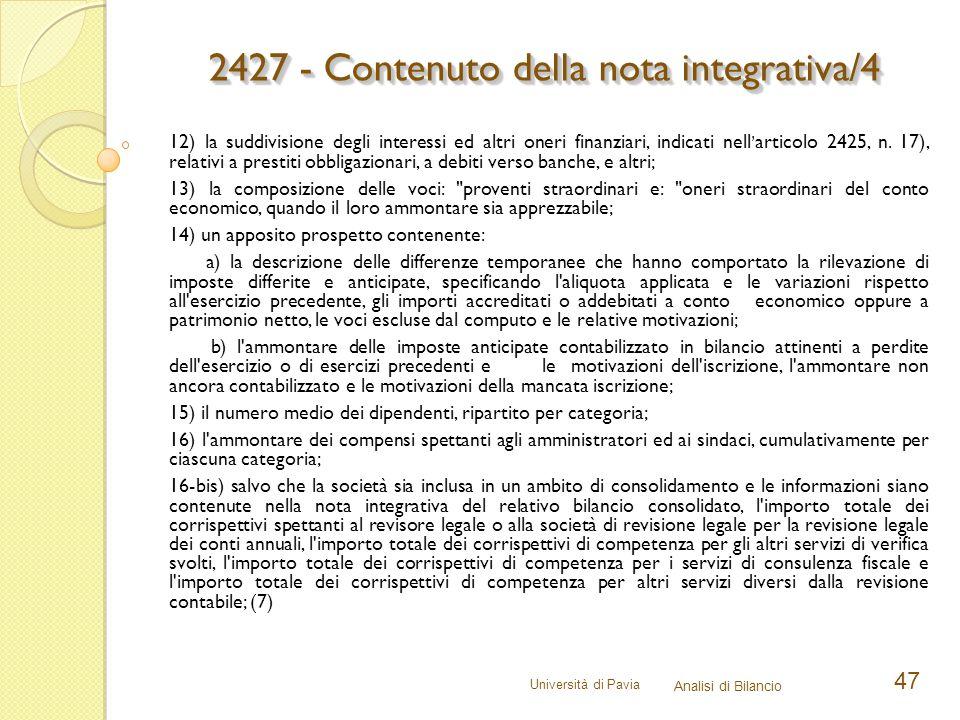 2427 - Contenuto della nota integrativa/4