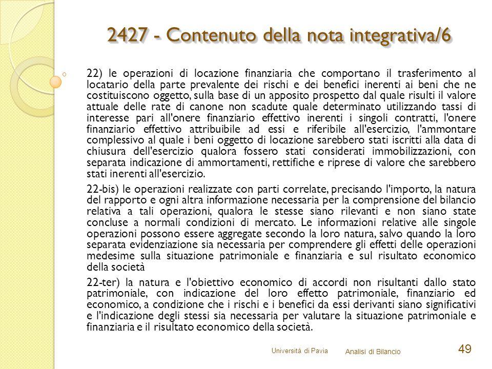 2427 - Contenuto della nota integrativa/6