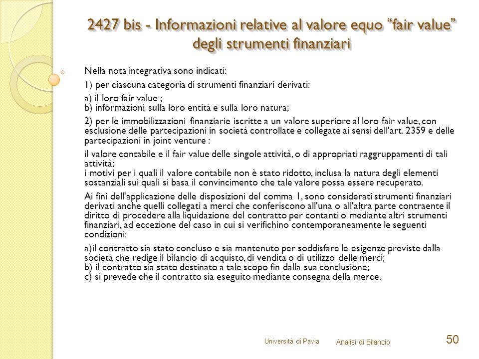 2427 bis - Informazioni relative al valore equo fair value degli strumenti finanziari