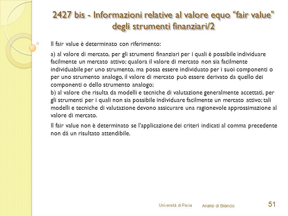 2427 bis - Informazioni relative al valore equo fair value degli strumenti finanziari/2