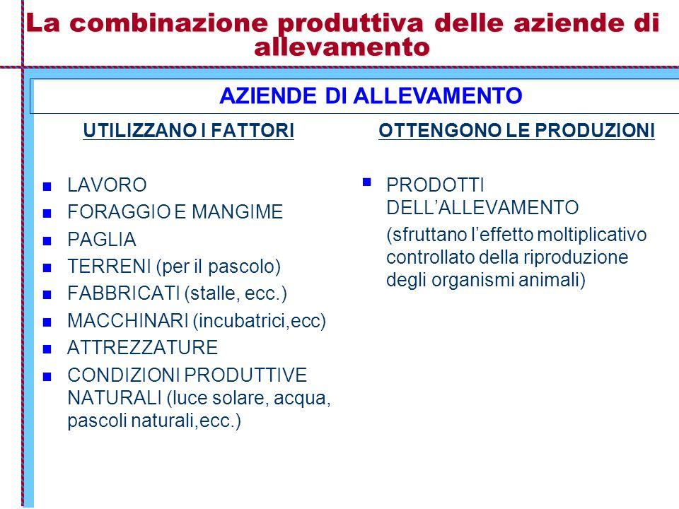 La combinazione produttiva delle aziende di allevamento