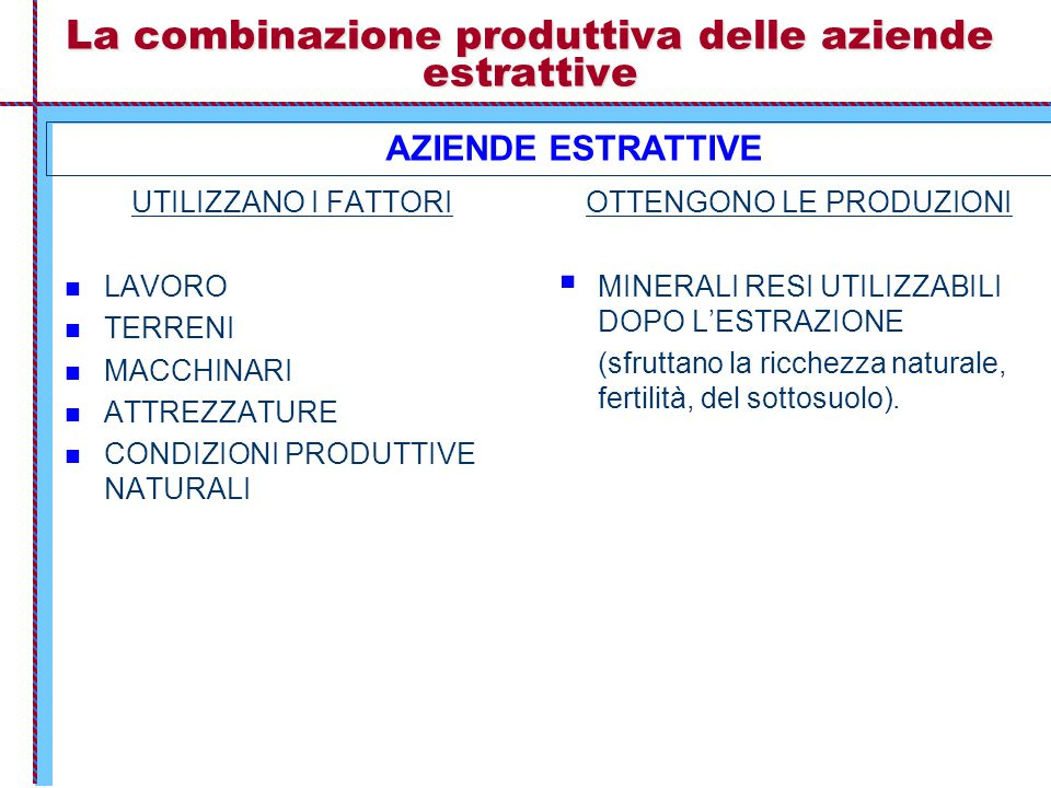 La combinazione produttiva delle aziende estrattive