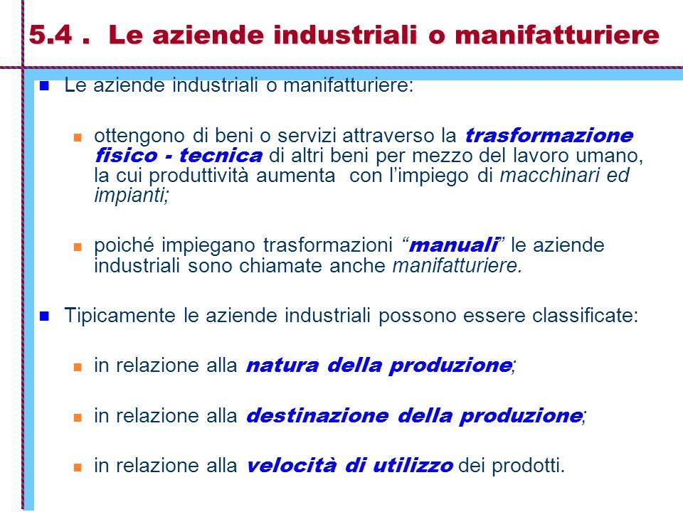 5.4 . Le aziende industriali o manifatturiere