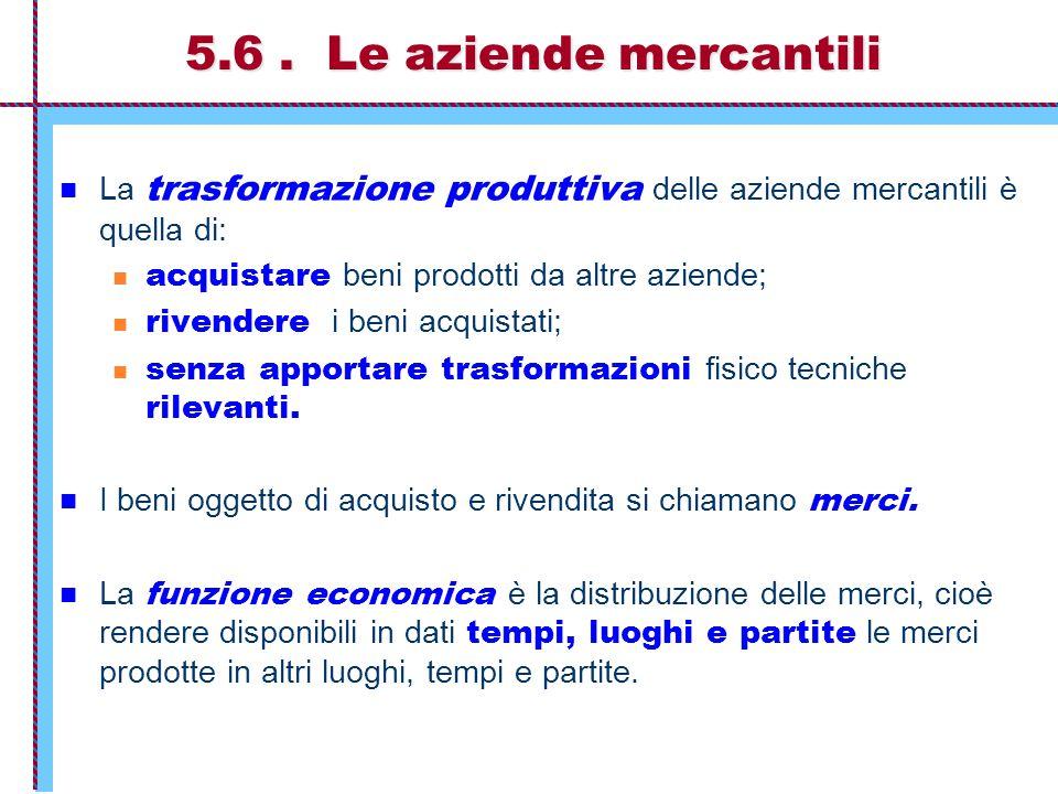5.6 . Le aziende mercantili La trasformazione produttiva delle aziende mercantili è quella di: acquistare beni prodotti da altre aziende;