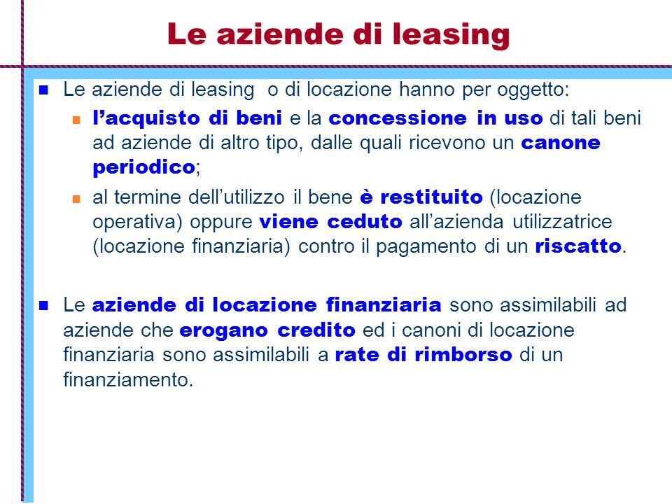 Le aziende di leasing Le aziende di leasing o di locazione hanno per oggetto: