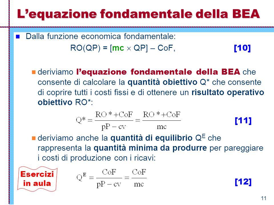 L'equazione fondamentale della BEA