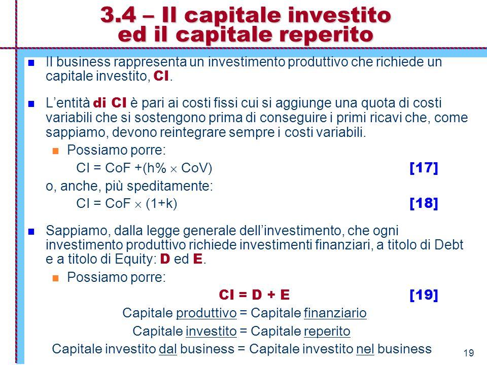 3.4 – Il capitale investito ed il capitale reperito