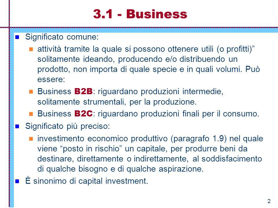 3.1 - Business Significato comune: