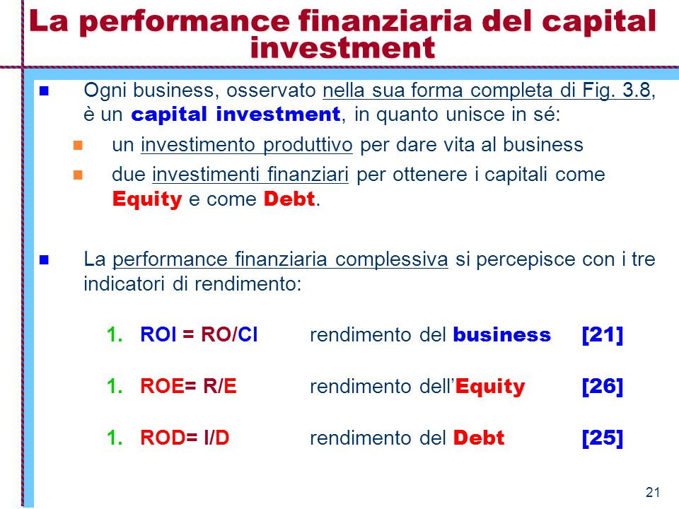 La performance finanziaria del capital investment