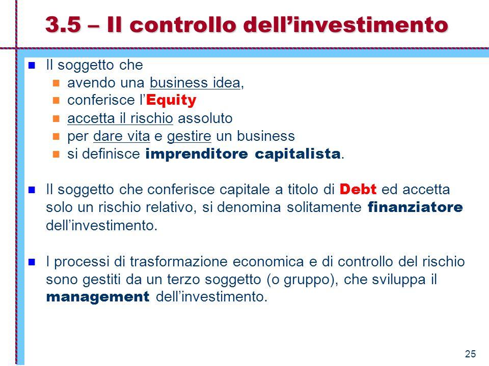 3.5 – Il controllo dell'investimento