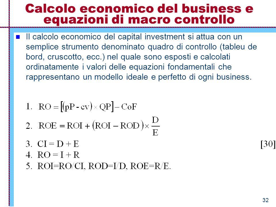 Calcolo economico del business e equazioni di macro controllo
