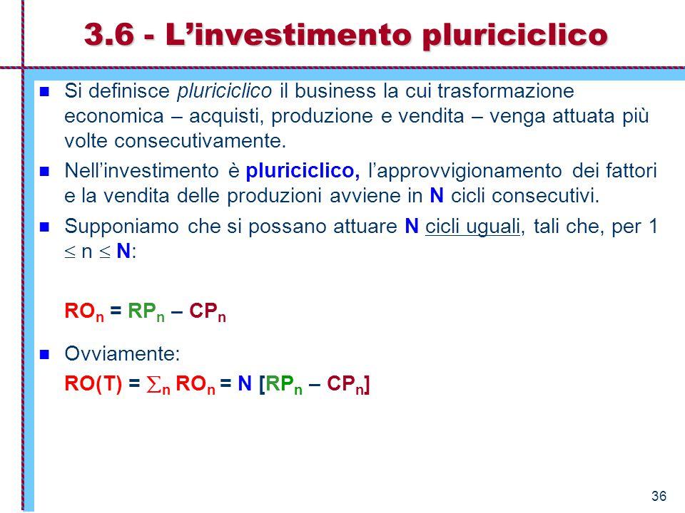 3.6 - L'investimento pluriciclico
