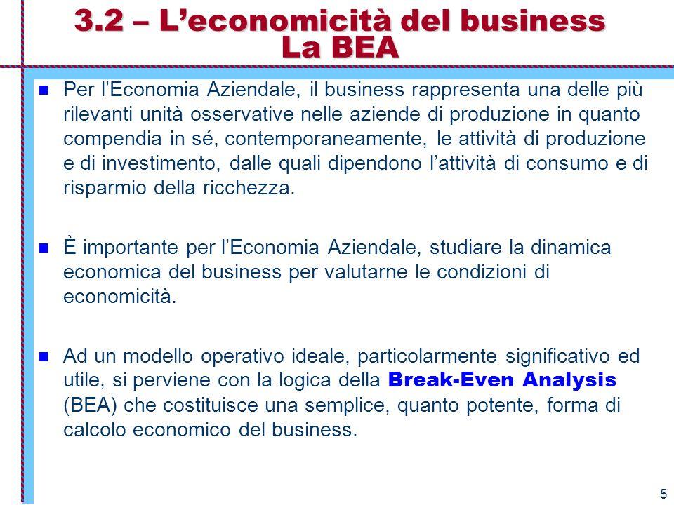 3.2 – L'economicità del business La BEA