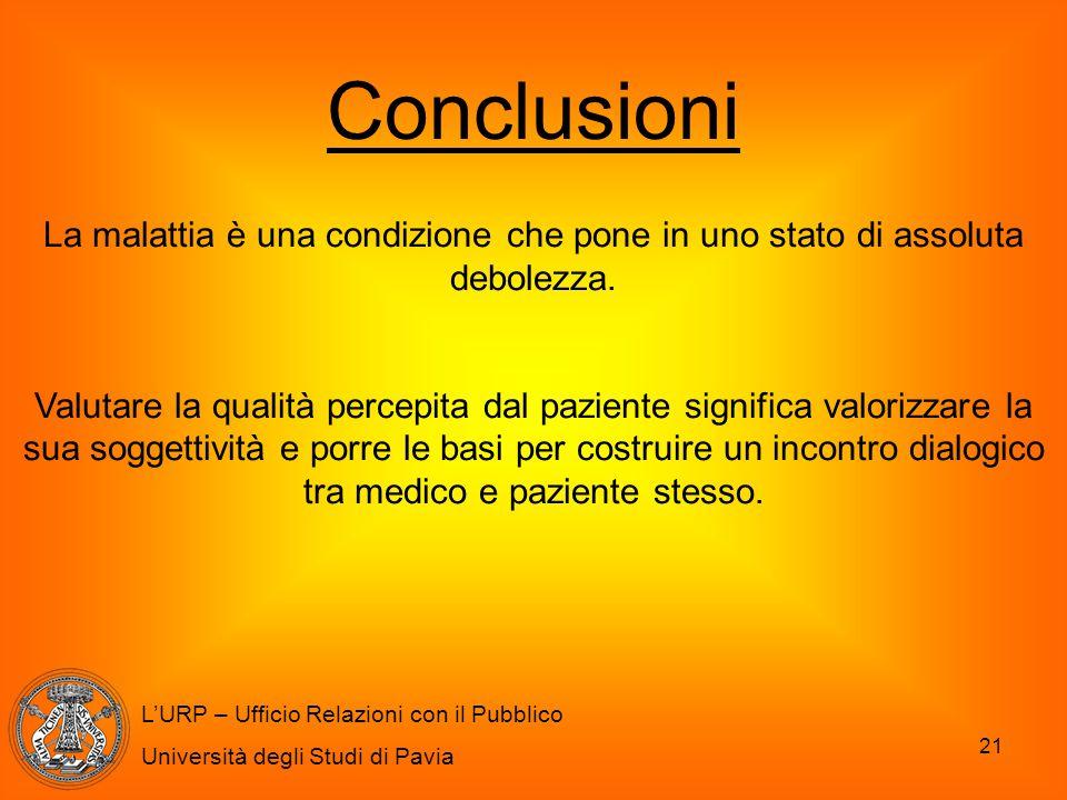 Conclusioni La malattia è una condizione che pone in uno stato di assoluta debolezza.