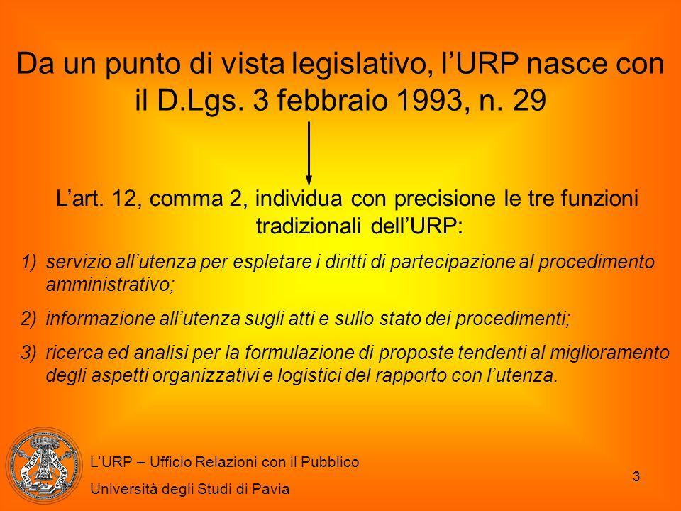 Da un punto di vista legislativo, l'URP nasce con il D. Lgs