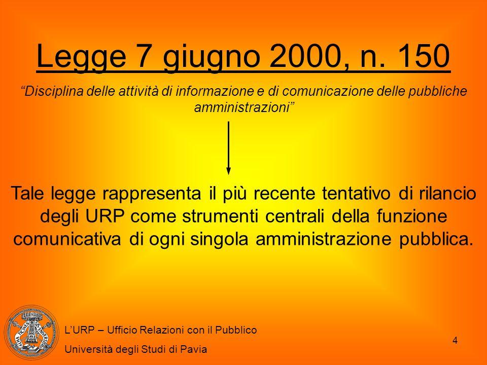 Legge 7 giugno 2000, n. 150 Disciplina delle attività di informazione e di comunicazione delle pubbliche amministrazioni