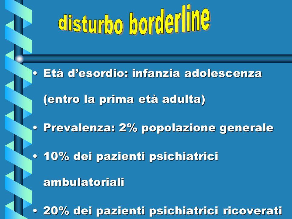 disturbo borderline Età d'esordio: infanzia adolescenza (entro la prima età adulta) Prevalenza: 2% popolazione generale.