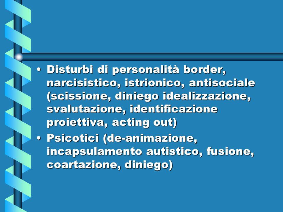 Disturbi di personalità border, narcisistico, istrionico, antisociale (scissione, diniego idealizzazione, svalutazione, identificazione proiettiva, acting out)