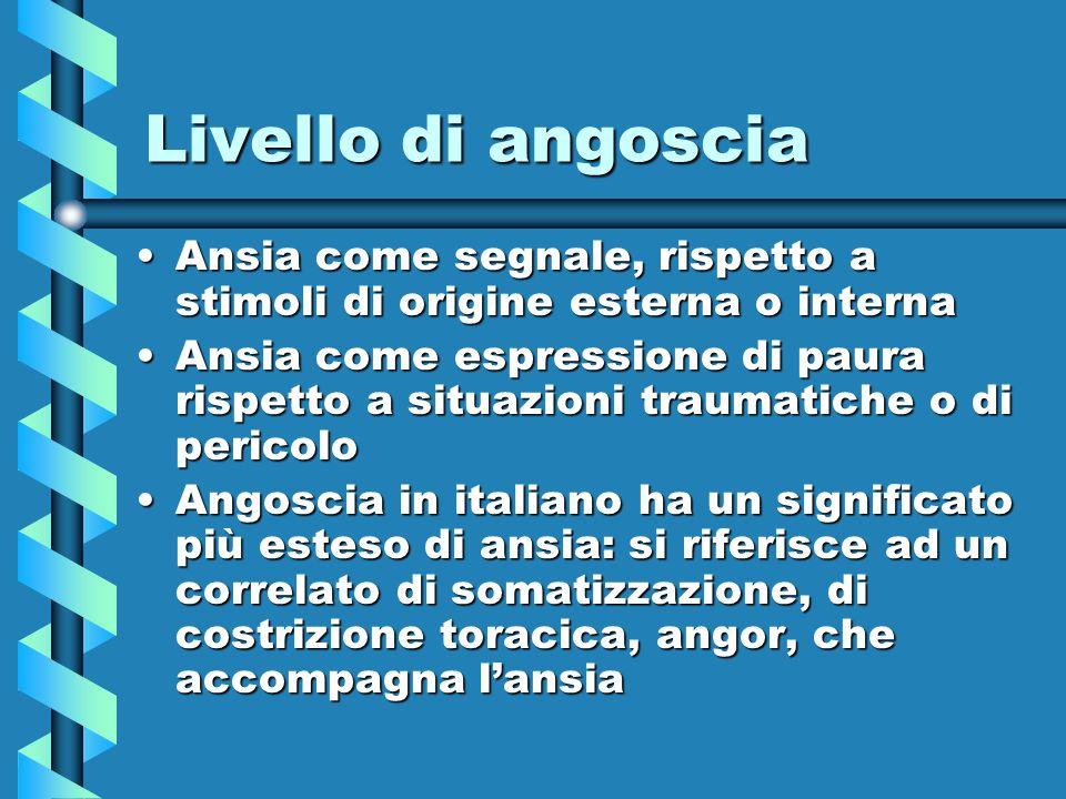 Livello di angoscia Ansia come segnale, rispetto a stimoli di origine esterna o interna.