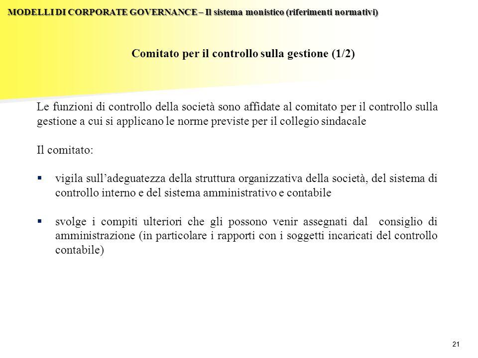 Comitato per il controllo sulla gestione (1/2)
