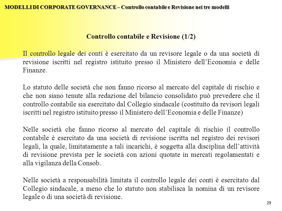 Controllo contabile e Revisione (1/2)