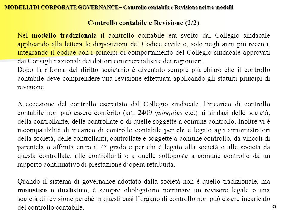 Controllo contabile e Revisione (2/2)