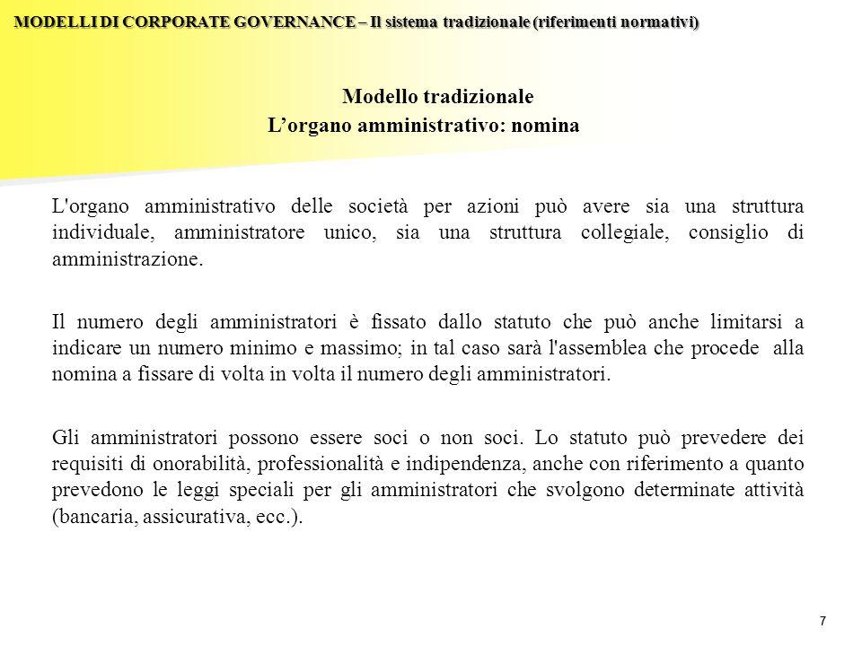 L'organo amministrativo: nomina