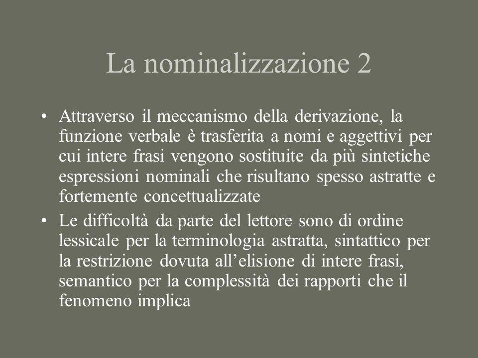 La nominalizzazione 2