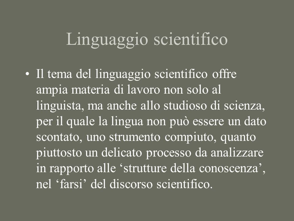 Linguaggio scientifico