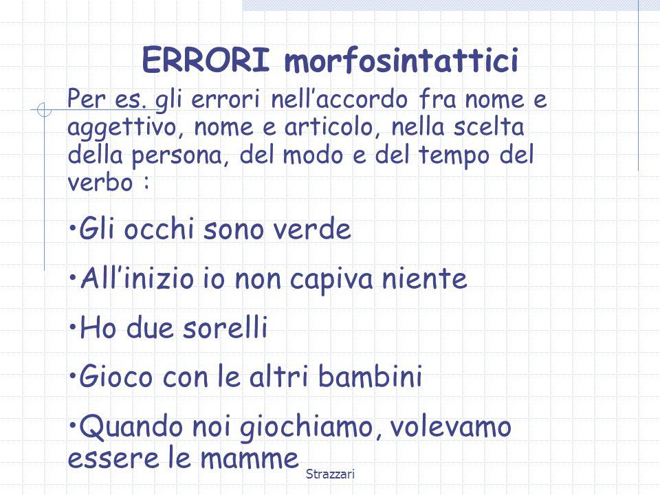 ERRORI morfosintattici
