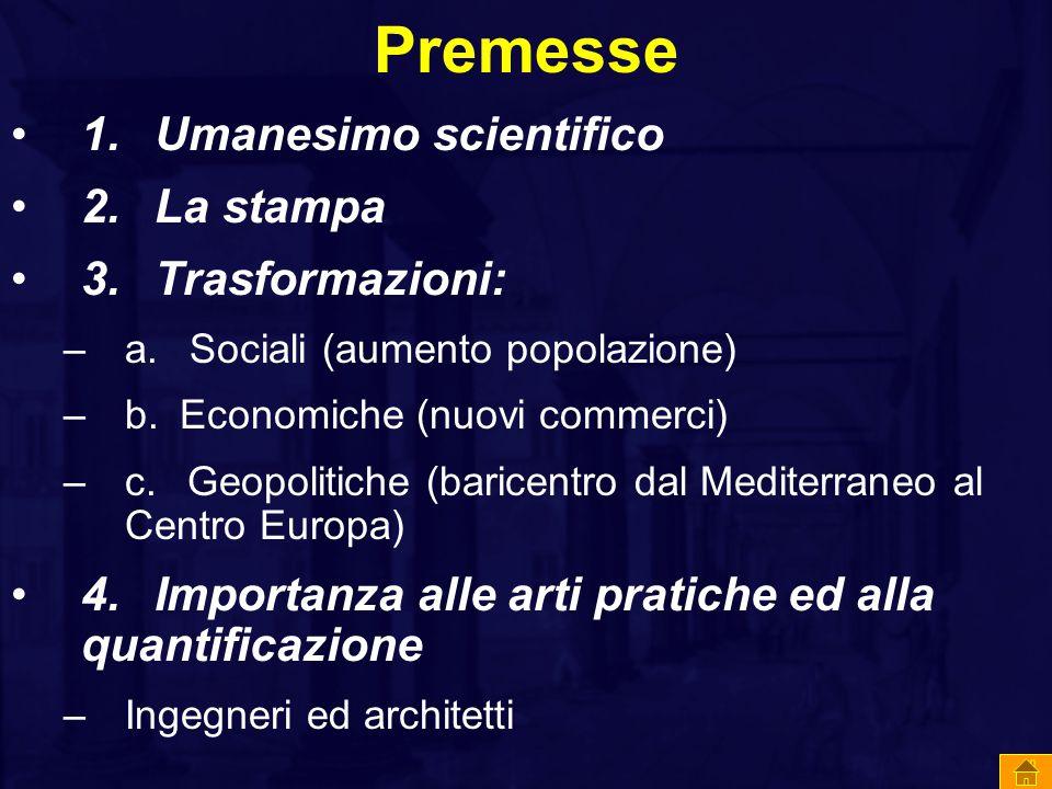 Premesse 1. Umanesimo scientifico 2. La stampa 3. Trasformazioni: