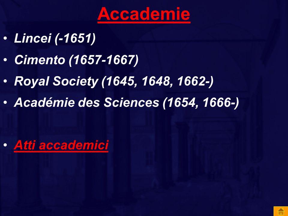 Accademie Lincei (-1651) Cimento (1657-1667)