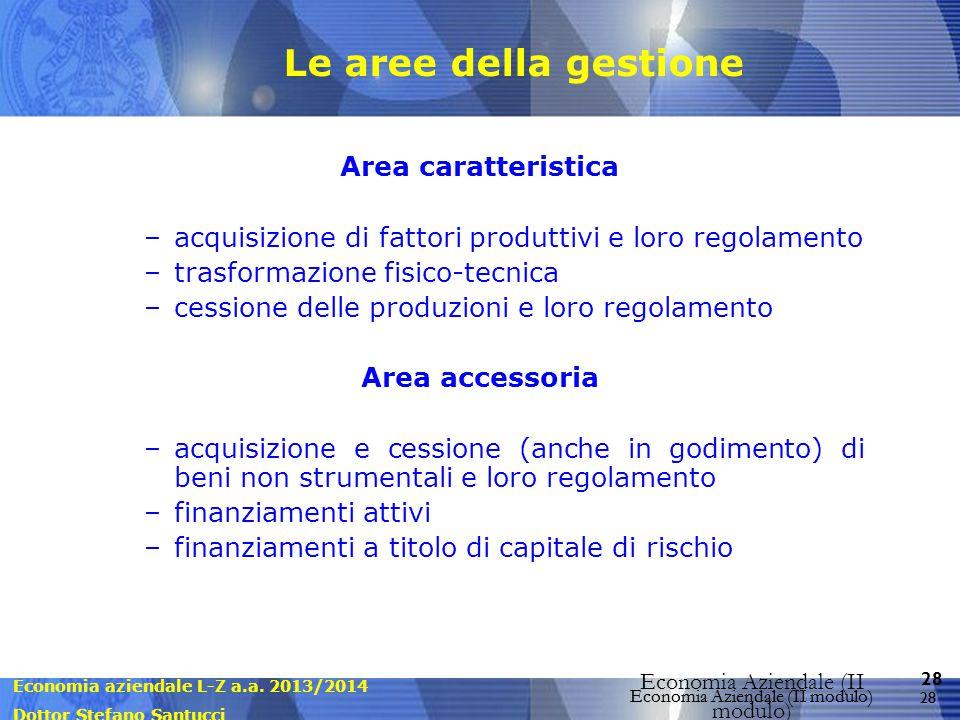 Le aree della gestione Area caratteristica