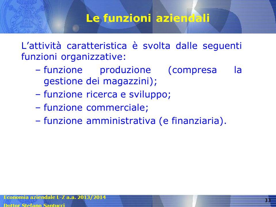 Le funzioni aziendali L'attività caratteristica è svolta dalle seguenti funzioni organizzative: