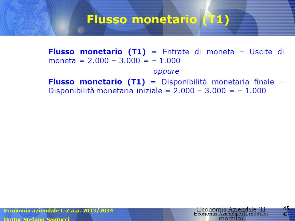 Flusso monetario (T1) Flusso monetario (T1) = Entrate di moneta – Uscite di moneta = 2.000 – 3.000 = – 1.000.