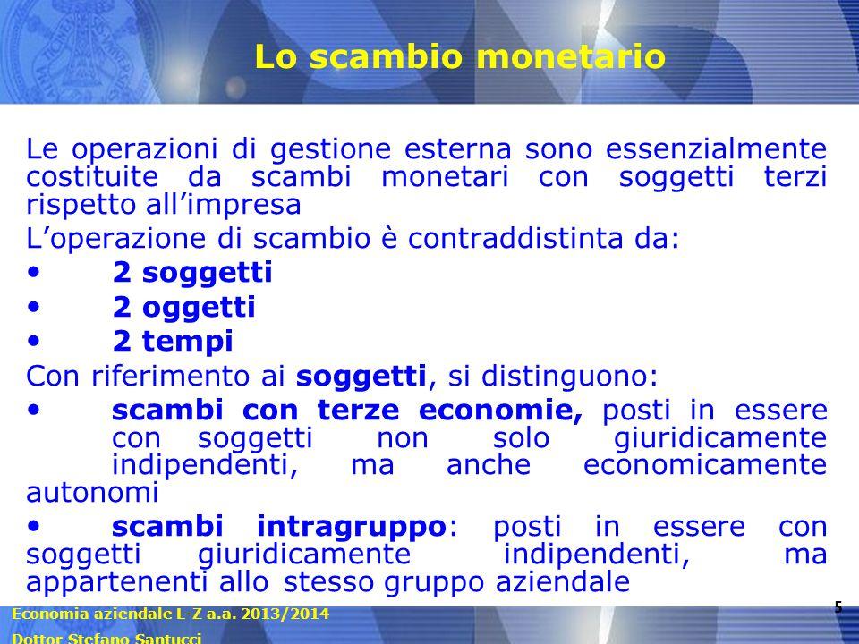 Lo scambio monetario Le operazioni di gestione esterna sono essenzialmente costituite da scambi monetari con soggetti terzi rispetto all'impresa.