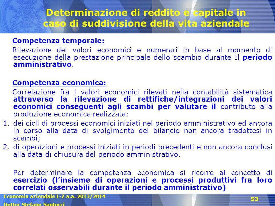 Determinazione di reddito e capitale in caso di suddivisione della vita aziendale