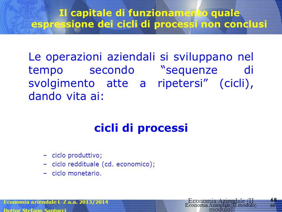 Il capitale di funzionamento quale espressione dei cicli di processi non conclusi