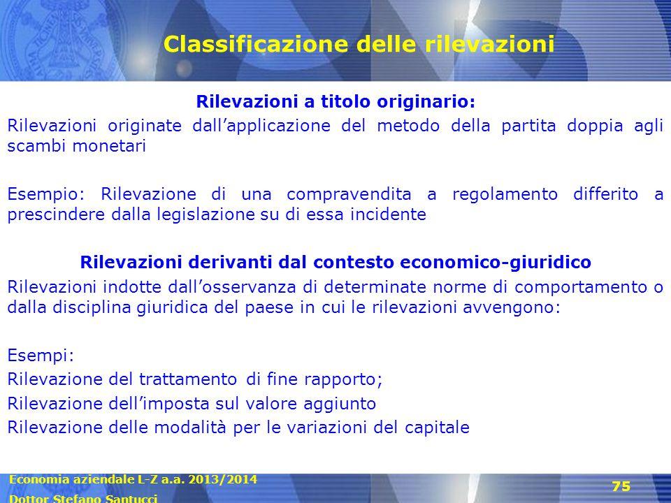 Classificazione delle rilevazioni