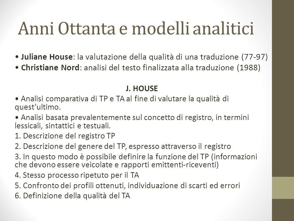 Anni Ottanta e modelli analitici