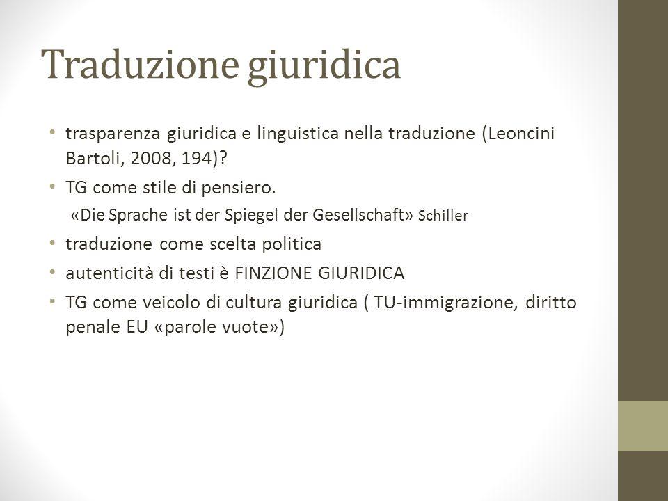 Traduzione giuridica trasparenza giuridica e linguistica nella traduzione (Leoncini Bartoli, 2008, 194)