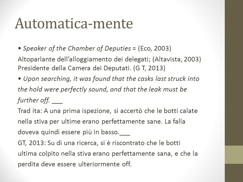 Automatica-mente • Speaker of the Chamber of Deputies = (Eco, 2003)