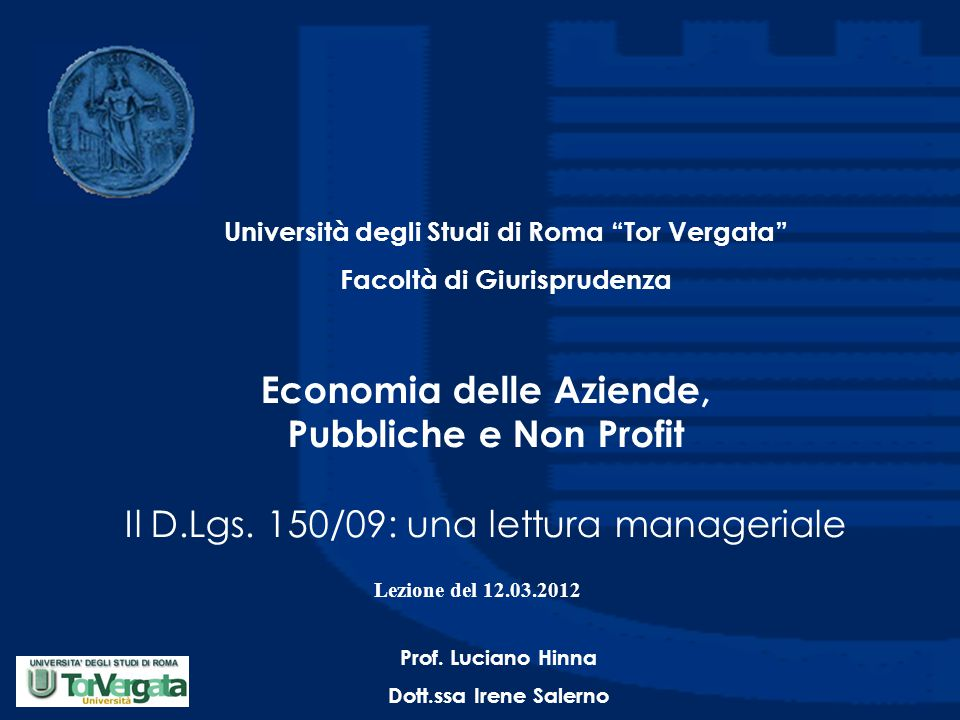 Università degli Studi di Roma Tor Vergata Facoltà di Giurisprudenza