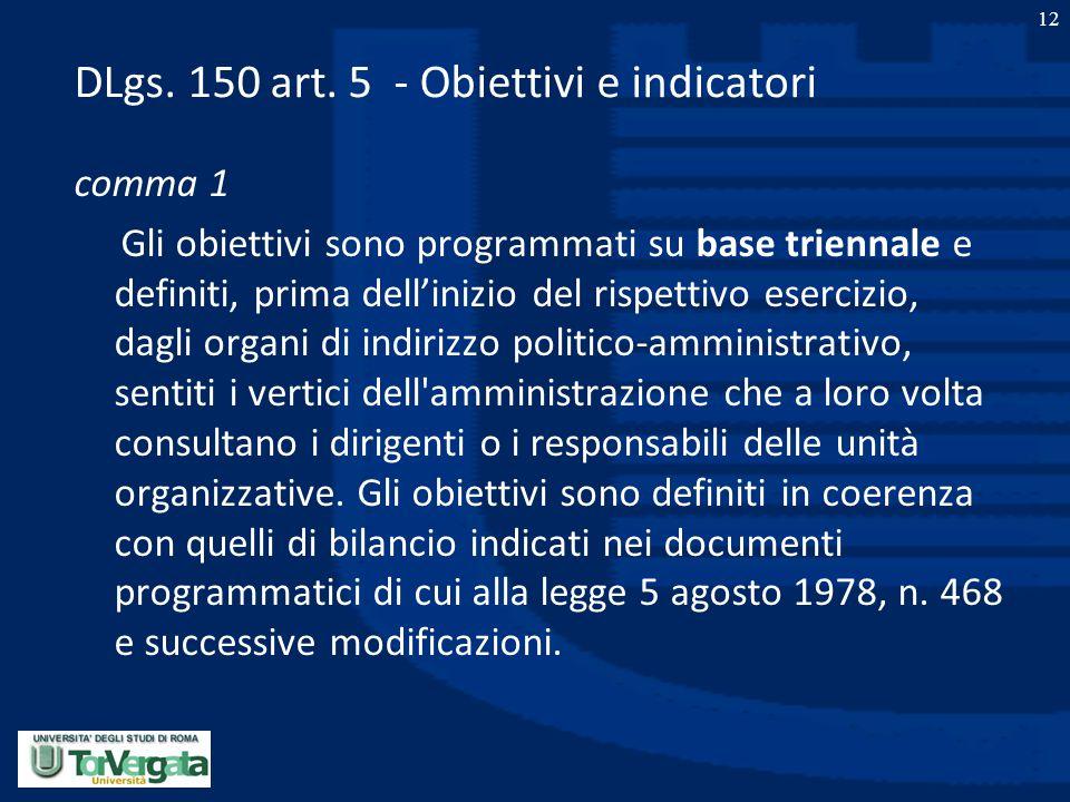 DLgs. 150 art. 5 - Obiettivi e indicatori