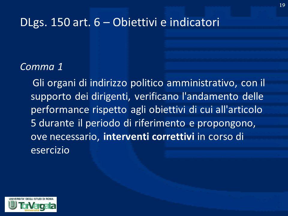 DLgs. 150 art. 6 – Obiettivi e indicatori